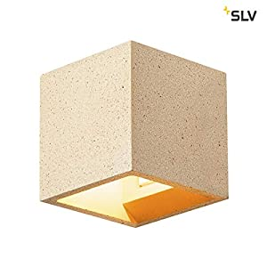 SLV Solid Cube Wall Light, 304 Stainless Steel, Grey Gelber Sandstein