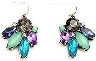 Lares Domi Vintage Plateada Incrustaciones De Cristal Multicolor Classic Pendientes de gota de estilo Art Deco