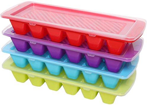 idea-station de hielo se forman, 4 piezas, coloreado, teñido con tapa, apilables como Eiswürfelbox, molde de hielo, bandejas de cubitos de hielo, bandeja de cubitos de hielo utilizado, aptos para lavavajillas