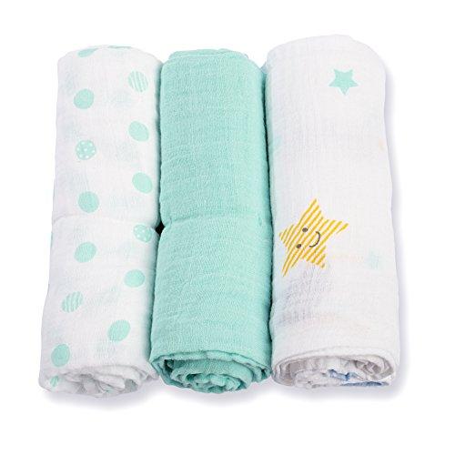 lulujo Dreamland Baby 3-Count Mini Muslin Cloths, 28