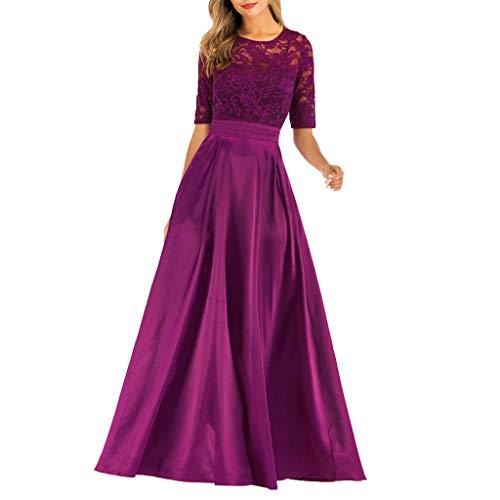 BASACA Damen Kleid Abendkleid Cocktailkleider Ballkleid Halbarm Oansatz Schlank Abend Party Freizeit Partykleid Minikleid Skaterkleid Kleider (Lila, L)
