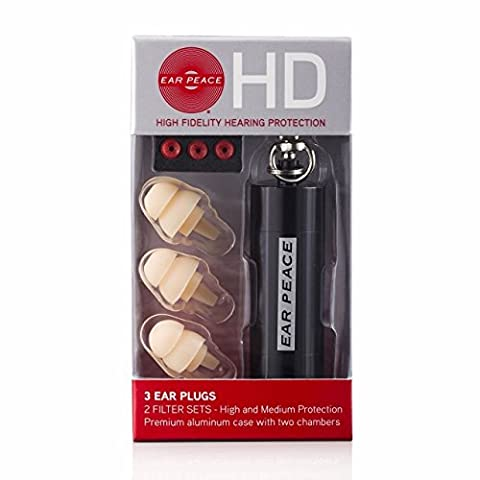 EarPeace HD High Fidelity Gehörschutz (Ohrstöpsel) (Ohrstöpsel Weiß / Schutztasche Schwarz)