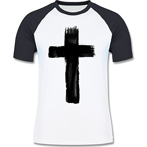 Shirtracer Symbole - Kreuz Vintage - Herren Baseball Shirt Weiß/Navy Blau