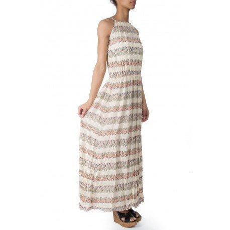 Ideal Shoes - Robe longue imprimé fleuri Christine Beige
