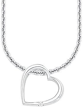 s.Oliver Damen-Kette mit Herz-Anhänger 925 Silber rhodiniert Zirkonia weiß