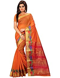 Active Women's Cotton Art Silk Saree Kanjivaram Style Saree (Free Size_Orange)