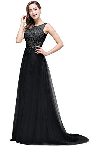Damen Elegant Jugendweihe kleider Spitze Abschlusskleider lang Rückenfrei Schwarz 32