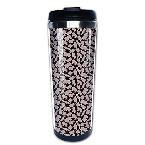 Animal Stencil Pink And Black Multi Insulated Stainless Steel Travel Mug 14 oz Classic Lowball Tumbler with Flip Lid Nissan Thermos Travel Mug