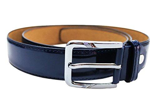 Cintura elegante uomo blu lucido vernice cinta nuova belt cerimonia