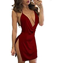 Estate Vestiti Donna a Tunica Sexy V Collo Senza Schienale Mini Abiti  Chiffon Moda Corto Abito b501f2a272c