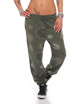 ZARMEXX Mujer Boyfriendhose con tira botones Pantalón chándal Pantalones deportivos pantalones Shorts Fitness...