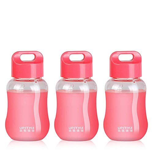 Jiliguala upstyle mini bottiglia in plastica da caffè tazze da viaggio sport bottiglia d' acqua tazza per latte, caffè, tè, succhi di frutta, 180ml (170,1gram) transparent pink-3