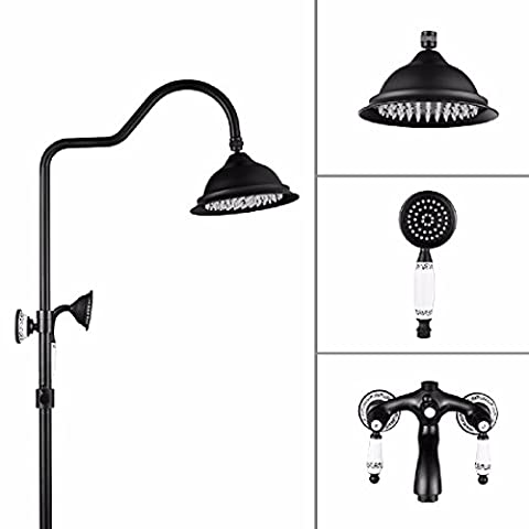 SDKKY European-style copper three-file black large shower set, retro European shower, black bathtub shower faucet,Section