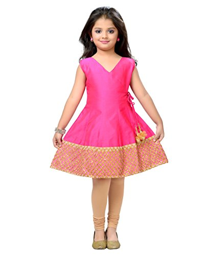 White Button Girl's Magenta Pink Taffeta Silk Angrakha Style ReadyMade Partywear New...