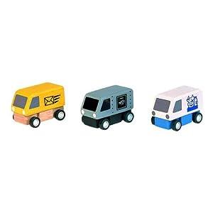 PlanToys Delivery Vans vehículo de Juguete - Vehículos de Juguete (Multicolor, Juego de vehículos, Madera, 3 año(s), Niño/niña)
