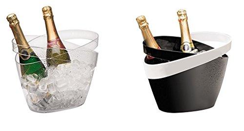 Wein-/ Sektkühler aus MS Kunststoff, glasklar, schwarz oder schwarz/weiß, stapelbar / 30,5 x 22,5 x 23,5 cm, Inhalt: 5 ltr. | SUN (glasklar)