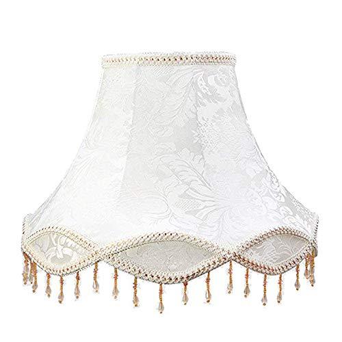 Amter Tischleuchte Schatten, Tischlampe Beleuchtung Zubehör Stehleuchte Nachttischlampe Seide Lampenschirm Wohnzimmer Esszimmer Dekoration Lampenschirm,White,L -