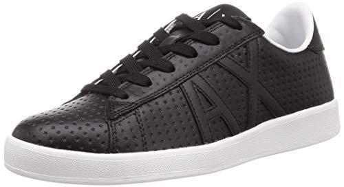 Armani Exchange Herren Action Leather lace up Sneaker, Schwarz Black K001, 45 EU