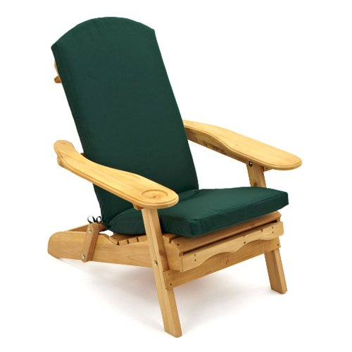 Trueshopping Adirondack Newby Armchair with retractable leg rest for Garden or Patio Includes Luxury Seat & Back Cushion in Dark Green