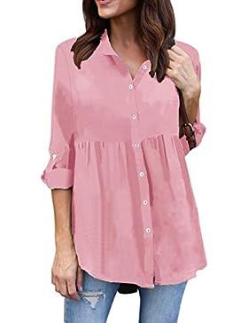 SHOBDW Mujeres sólidas de manga larga de Gasa casual señoras OL trabajo camiseta superior más tamaño