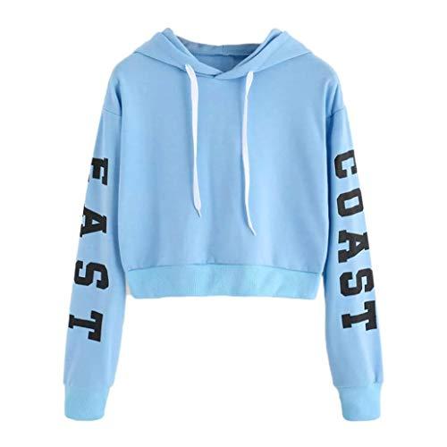 Mädchen Kostüm Ivy Frauen - TWIFER Damen Buchstaben Langarmshirt Hoodie Crop Pullover Tops Sweater Sweatshirt