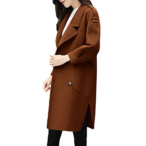 iHENGH Damen Herbst Winter Bequem Mantel Lässig Mode Jacke Frauen Womens Herbst Winterjacke Casual Outwear Parka Strickjacke dünner Mantel Mantel