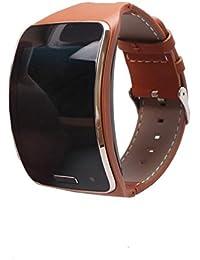 Reloj banda, happytop cuero correa de reloj pulsera correa de muñeca de repuesto para Samsung Gear S SM-R750, color marrón, Informal