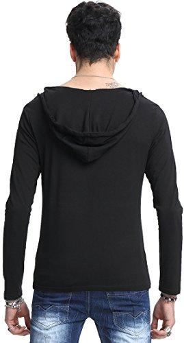 Whatlees Herren Basic reguläre Passform Kapuzenpullover aus weiches Jersey B093-Black