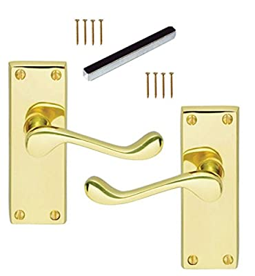 Set of 1 Pair ,Victorian Scroll Latch Brass polished Premium Quality Door Handles 4inch Long - low-cost UK light shop.