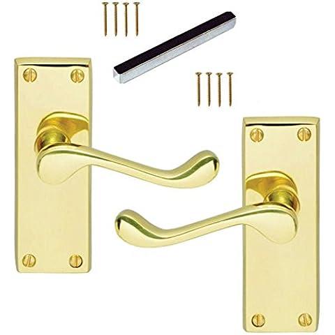Set di 1 coppia, lungo Victorian Scroll Fermo ottone lucido Premium Porta qualità Maniglie 4inch