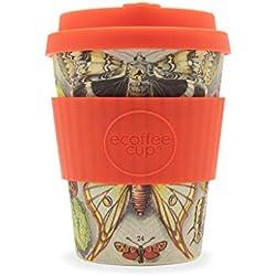 Ecoffee Cup Farfalle - Taza de café de bambú Reutilizable (340 ML), diseño de Mariposas