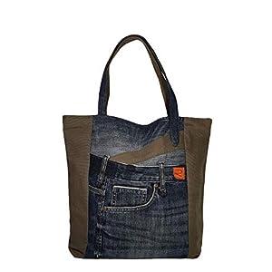 Jeanstasche Damen Handtasche Groß mit grünen Teilen aus Jeansstoff und Leinen 38 x 42 x 11 cm (Denim Blau & Grün)