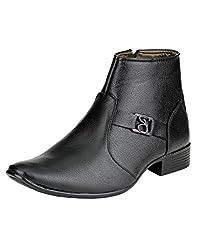 Real Blue Mens Black Designer Artificial Leather Slip On Formal Shoes Size:- 7