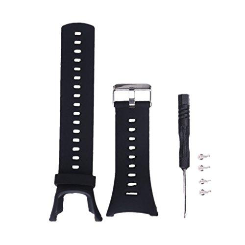 Meiruo Ersatz-Armband für Suunto Ambit 1/Suunto Ambit 2/Suunto Ambit 3, Zubehör Sport Strap Uhrenarmbänder für Suunto Ambit 1/Suunto Ambit 2/Suunto Ambit 3 (Schwarz) - 23mm Uhrenarmband Silikon