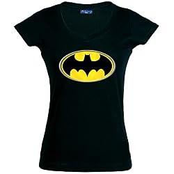 Mx Games Camiseta de chica manga corta logo Batman (Talla: S Chica manga corta Ancho/largo[39cm/56cm])
