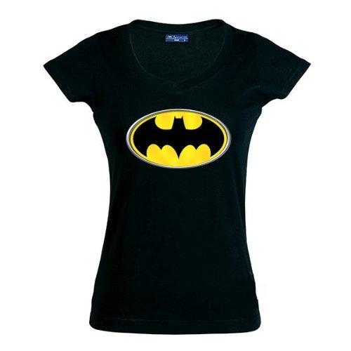 Corta Batman Chica Logo De S Manga talla Ancho Camiseta wPg4ta