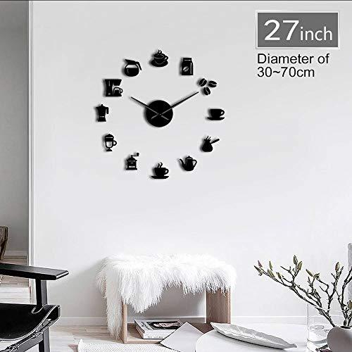 guyuell Café Temps 3D DIY Taille Réglable Horloge Murale Design Moderne Cuisine Horloge Montre Quartz Acrylique Miroir Autocollant Café Heure Horloge 27 Pouces