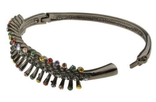 Christmas Starlight Pewter Bangle Bracelet with Multicolour Swarovski Crystals Set on Open Fan Shape Design. Last Few Remaining, Prices Slashed for Our Christmas Shop