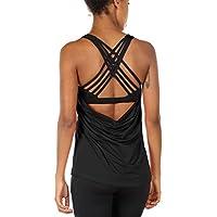 icyzone Fitness Shirt Damen Sport Tops mit BH - X Rücken Gym Yoga Oberteile 2 in 1