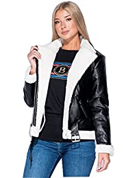 Gracious Girl New Womens Faux Leather Aviator Shearling Faux Fur Lined Ladies Jacket