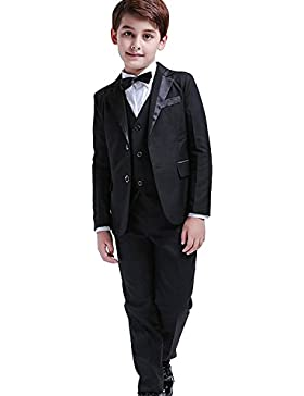 5 piezas niños Blazer formal niños Smoking chaleco chaleco traje de fiesta negro