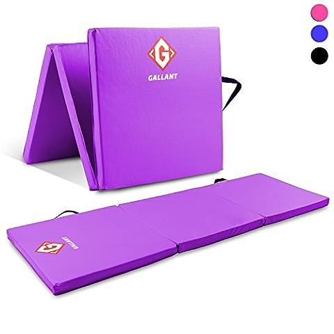 Gallant Purple Gymnastics Mats Tri Folding 5cm Thick 180cm X 60cm - Non Slip PU Leather Tumble Track Yoga Gym Fitness Exercise Floor Equipment
