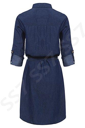 SS7 nouveau Denim Bleu Indigo Robe Chemise Sizes 8 - 14 Bleu Indigo