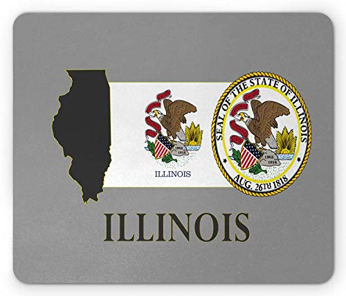 National Union (SHAQ Illinois Mouse Pad, Illinois State Map National Union Seal Coat of Arms with Eagle American Borders, Standard Size Rectangle Non-Slip Rubber Mousepad, Multicolour)