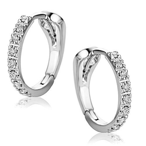 824ddaad50ea Orovi Pendientes Señora aros en Oro Blanco con Diamantes Talla Brillante  0.10 ct Oro 18 kt