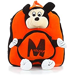Bazaar Pirates Mickey Mouse School Bag Or Picnic Bag For Kids, Children, Plush Backpack, Soft Toy ( Orange )