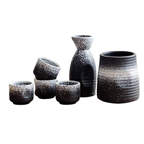 BB&ONE - Set per vino saké giapponese, in ceramica bianca, antichizzato, per uso domestico, tappo per vino in omaggio, set da 5 pezzi