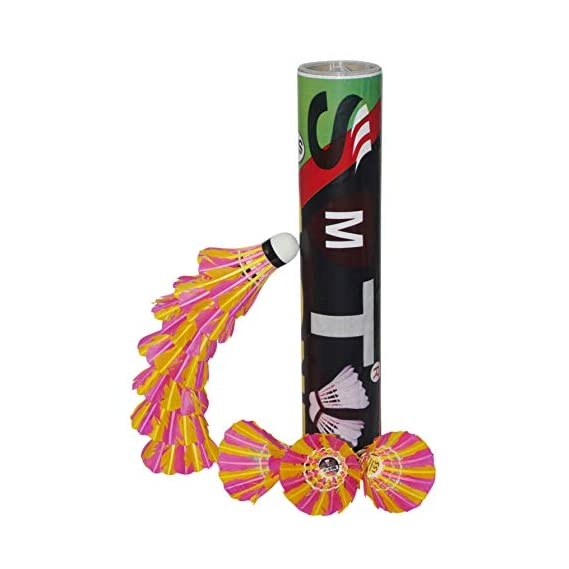 SMT Badminton Shuttlecock Pack of 10 Feather Shuttle Cock (Pink & Yellow)