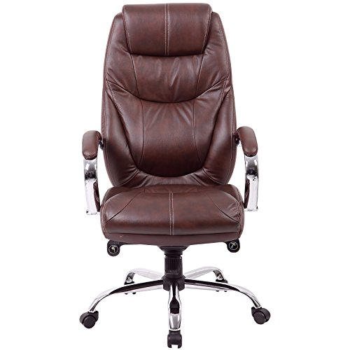 Bürostuhl Genua - Chefsessel mit hoher Rückenlehne - Soft Touch Leder in braun - Schreibtischstuhl mit italienischem Design (Italienische Leder Bürostuhl)