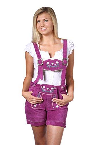 Damen Trachten Lederhose Damenhose mit Traegern aus feinstem Veloursleder in Pink, Bayrische Trachtenlederhose fuer das Oktoberfest Gr. 44
